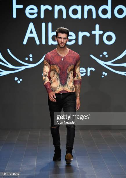 A model walks the runway wearing Fernando Alberto at Los Angeles Fashion Week Powered by Art Hearts Fashion LAFW FW/18 10th Season Anniversary at The...