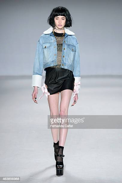 A model walks the runway wearing Fig Viper at the Tokyo Runway Meets New York fashion show during MercedesBenz Fashion Week Fall 2015 at The Salon at...