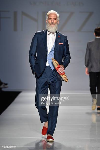 A model walks the runway wearing Finezza Au Nom De L'Homme spring 2016 collection during World MasterCard Fashion Week Spring 2016 at David Pecaut...