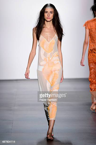 A model walks the runway wearing Francesca Liberatore Spring 2016 during New York Fashion Week The Shows at The Dock Skylight at Moynihan Station on...