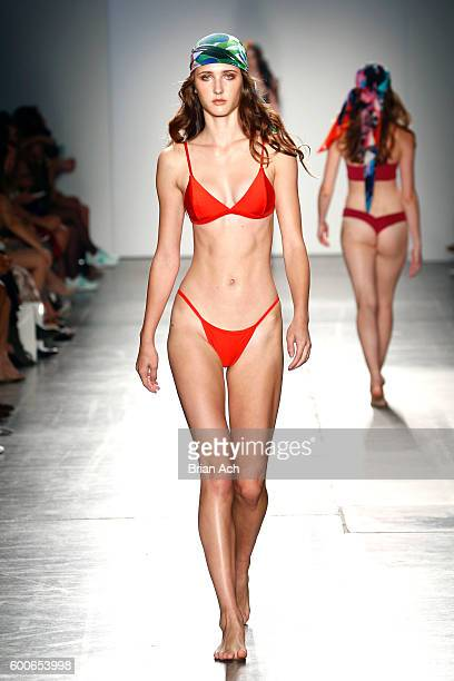 A model walks the runway wearing FRANKIE by Rebecca at Fashion Palette Australian Swim/Resort New York Fashion Week Spring/Summer 2017 at Pier 59...