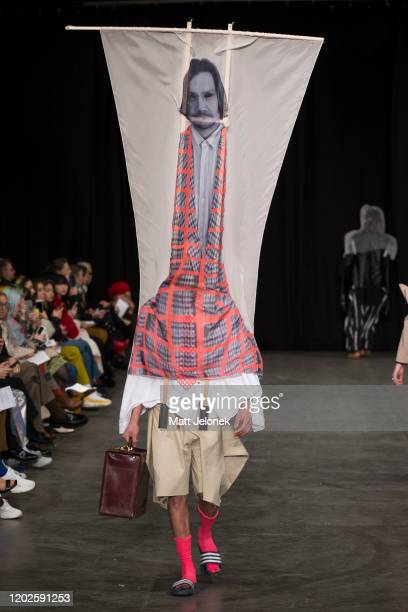 Model walks the runway wearing Frederik Moller of The Swedish School of Textiles at the Designers Nest showcase with fashion graduates from the...