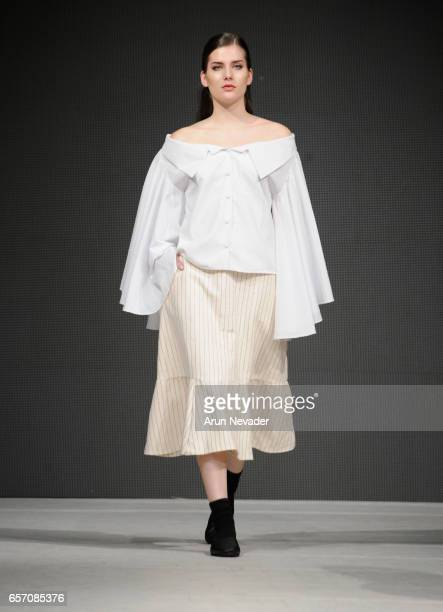Model walks the runway wearing Gabbie Sarenas at Vancouver Fashion Week Fall/Winter 2017 at Chinese Cultural Centre of Greater Vancouver on March 23,...