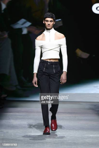 A model walks the runway wearing GmbH at the International Woolmark Prize 2020 during London Fashion Week February 2020 at Ambika P3 on February 17...