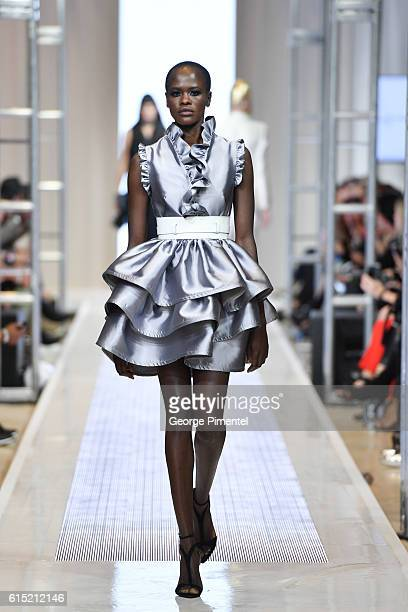 A model walks the runway wearing Greta Constantine Spring and Summer 2017 collection during FashionCAN at Yorkdale Shopping Centre on October 17 2016...