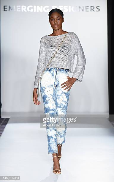 Model walks the runway wearing Grier Co. At the Emerging Designers show during Fall 2016 New York Fashion Week on February 13, 2016 in New York City.