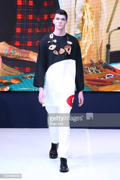 Model walks the runway wearing Gulick & Ybarra Wearable Art during NYFW Powered By hiTechMODA on February 08, 2020 in New York City.