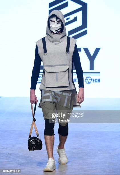 Model walks the runway wearing GUTY at Vancouver Fashion Week Spring/Summer 19 - Day 4 on September 20, 2018 in Vancouver, Canada.