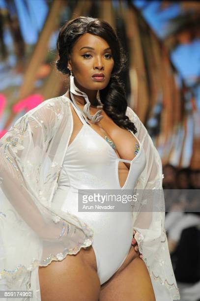 A model walks the runway wearing Gyv Me Body at Los Angeles Fashion Week SS18 Art Hearts Fashion LAFW on October 8 2017 in Los Angeles California