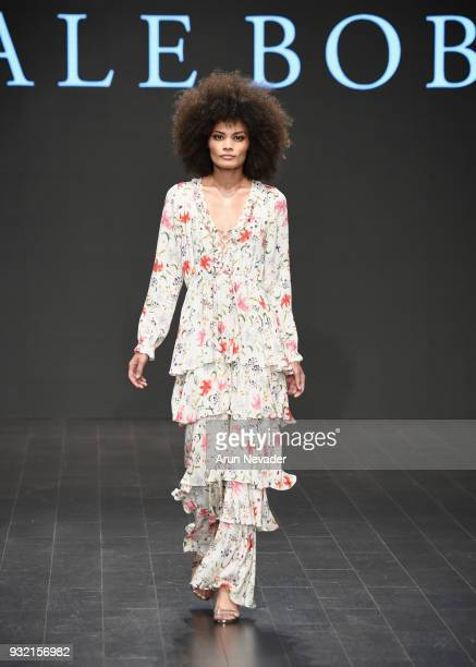 A model walks the runway wearing Hale Bob at Los Angeles Fashion Week Powered by Art Hearts Fashion LAFW FW/18 10th Season Anniversary at The...
