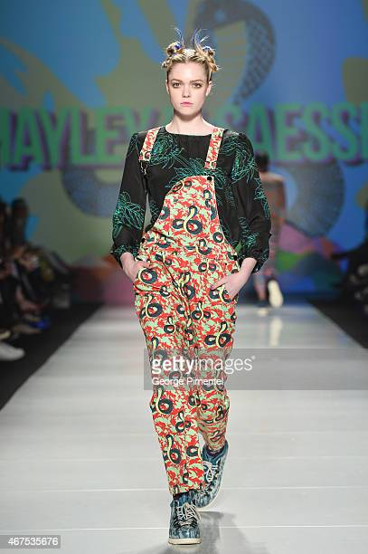 A model walks the runway wearing Hayley Elsaesser fall 2015 collection during World MasterCard Fashion Week Fall 2015 at David Pecaut Square on March...