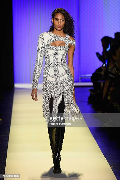 A model walks the runway wearing Herve Leger By Max Azria Fall 2016 during New York Fashion Week The Shows at The Arc Skylight at Moynihan Station on...