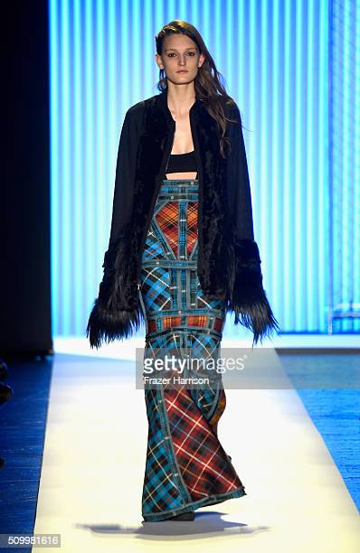 Model walks the runway wearing Herve Leger By Max Azria Fall 2016 during New York Fashion Week: The Shows at The Arc, Skylight at Moynihan Station on...