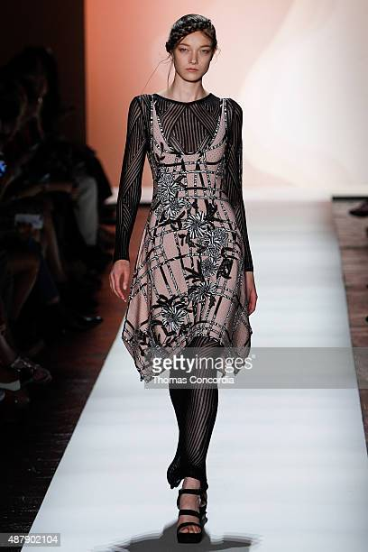 Model walks the runway wearing Herve Leger Spring 2016 during New York Fashion Week: The Shows at The Arc, Skylight at Moynihan Station on September...
