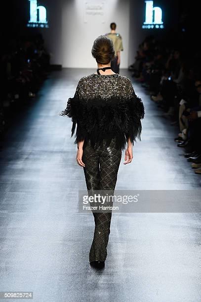 A model walks the runway wearing Hidy Ng for Fashion Hong Kong Fall 2016 during New York Fashion Week The Shows at The Dock Skylight at Moynihan...