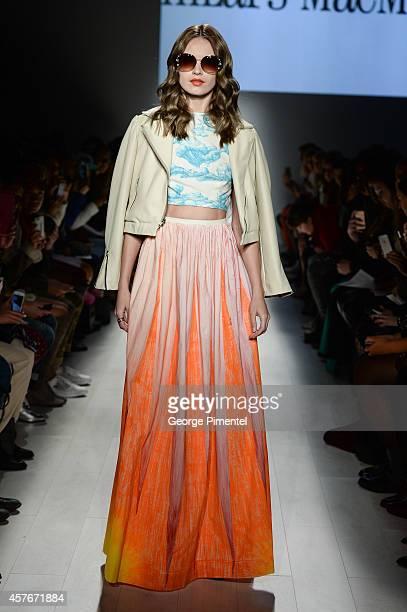 Model walks the runway wearing Hilary MacMillan spring 2015 collection during World MasterCard Fashion Week Spring 2015 at David Pecaut Square on...