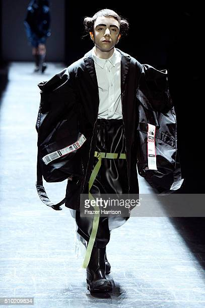 A model walks the runway wearing Hood By Air Fall 2016 during New York Fashion Week The Shows at The Arc Skylight at Moynihan Station on February 14...