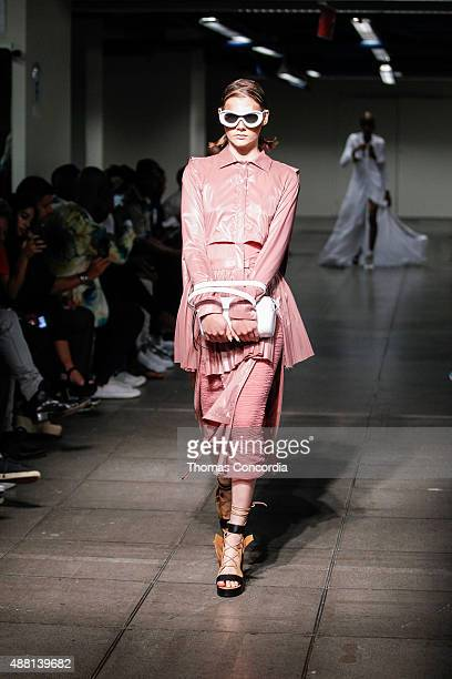 A model walks the runway wearing Hood by Air Spring 2016 during New York Fashion Week on September 13 2015 in New York City