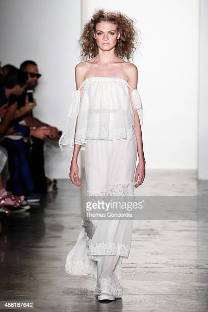 Model walks the runway wearing Houghton Spring 2016 during MADE Fashion Week at Milk Studios on September 14, 2015 in New York City.