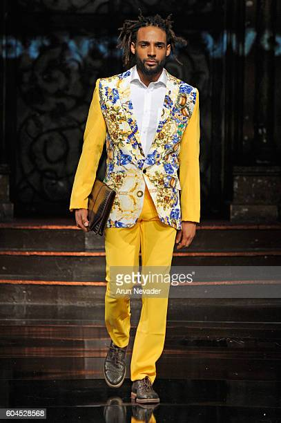 A model walks the runway wearing House of Byfield at Art Hearts Fashion NYFW The Shows presented by AIDS Healthcare Foundation at The Angel Orensanz...