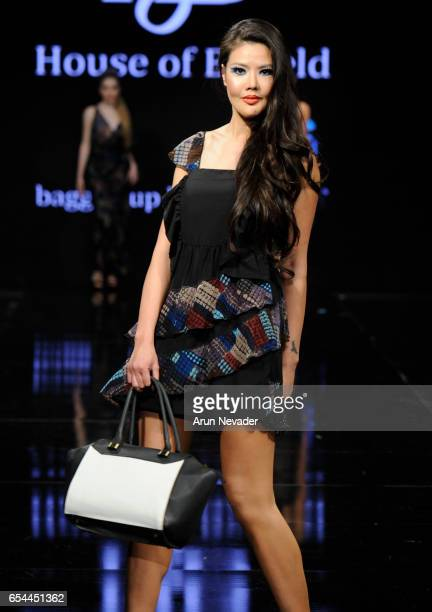 A model walks the runway wearing House of Byfield at Art Hearts Fashion LAFW Fall/Winter 2017 Day 3 at The Beverly Hilton Hotel on March 16 2017 in...