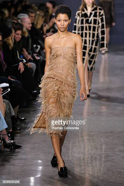 Model walks the runway wearing Jason Wu Fall 2016 at Spring Studios on February 12, 2016 in New York City.