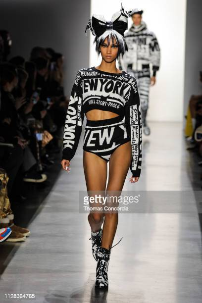 A model walks the runway wearing Jeremy Scott Fall 2019 at Gallery I at Spring Studios on February 08 2019 in New York City