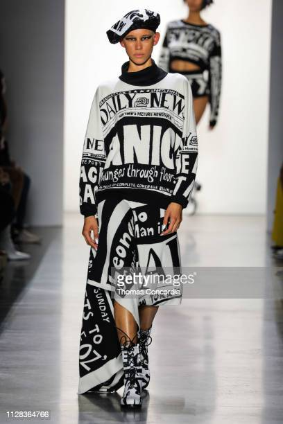 Model walks the runway wearing Jeremy Scott Fall 2019 at Gallery I at Spring Studios on February 08, 2019 in New York City.