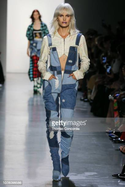 A model walks the runway wearing Jeremy Scott Spring 2019 at Gallery I at Spring Studios on September 6 2018 in New York City
