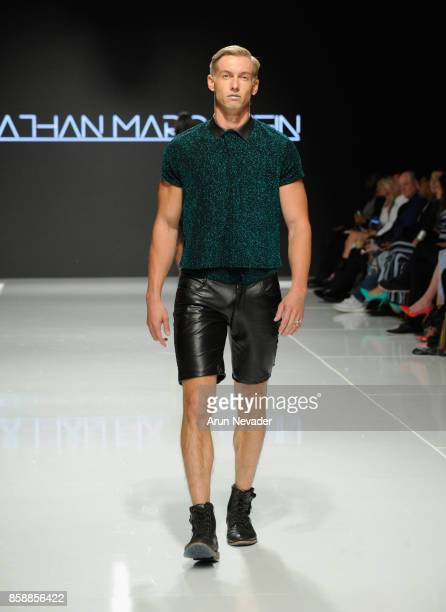 A model walks the runway wearing Jonathan Marc Stein at Los Angeles Fashion Week SS18 Art Hearts Fashion LAFW on October 7 2017 in Los Angeles...
