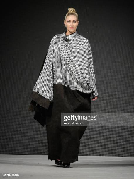Model walks the runway wearing Jose Hendo at Vancouver Fashion Week Fall/Winter 2017 at Chinese Cultural Centre of Greater Vancouver on March 25,...