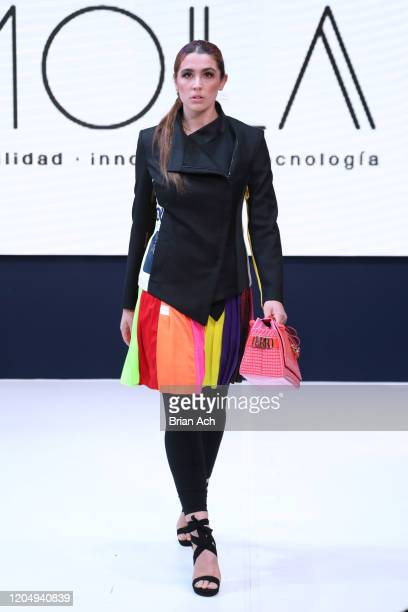 Model walks the runway wearing Juan Pablo Martinez during NYFW Powered By hiTechMODA on February 08, 2020 in New York City.