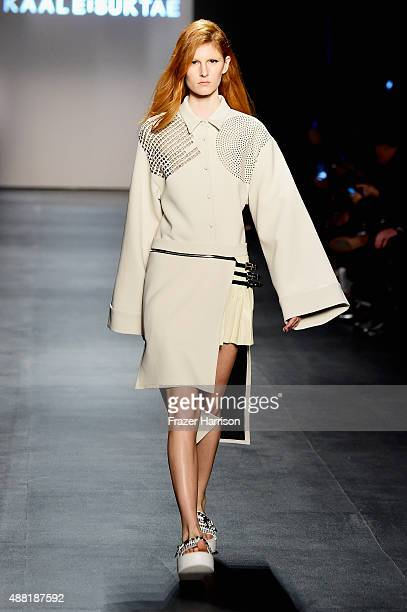 A model walks the runway wearing Kaal E Suktae by Concept Korea Spring 2016 during New York Fashion Week The Shows at The Dock Skylight at Moynihan...