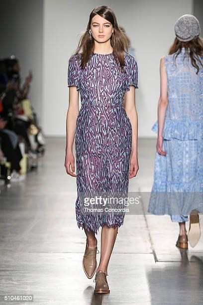Model walks the runway wearing Karen Walker Fall 2016 at Pier 59 Studios on February 15, 2016 in New York City.