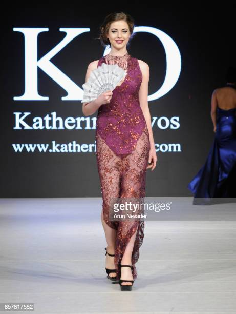 A model walks the runway wearing Katherin Olivos at Vancouver Fashion Week Fall/Winter 2017 at Chinese Cultural Centre of Greater Vancouver on March...