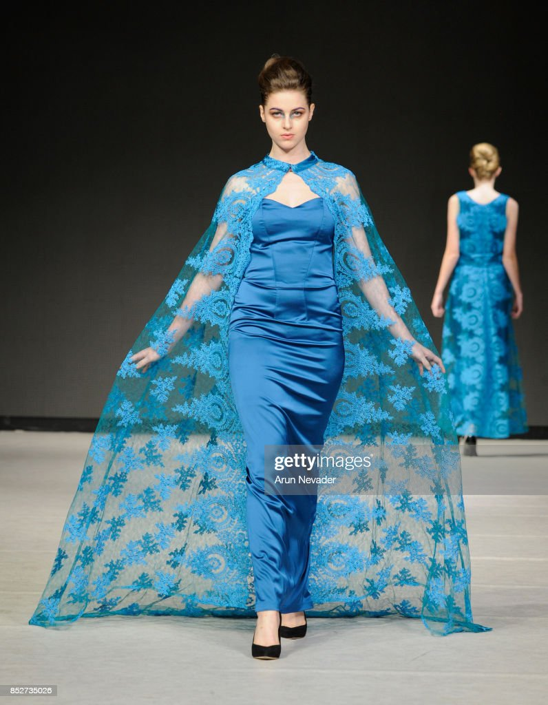 A model walks the runway wearing Katherine Tessier at 2017 Vancouver Fashion Week - Day 6 on September 23, 2017 in Vancouver, Canada.