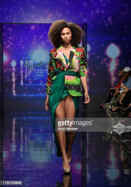 A model walks the runway wearing Kenneth Barlis at Los Angeles Fashion Week FW/19 Powered by Art Hearts Fashion at The Majestic Downtown on March 22...
