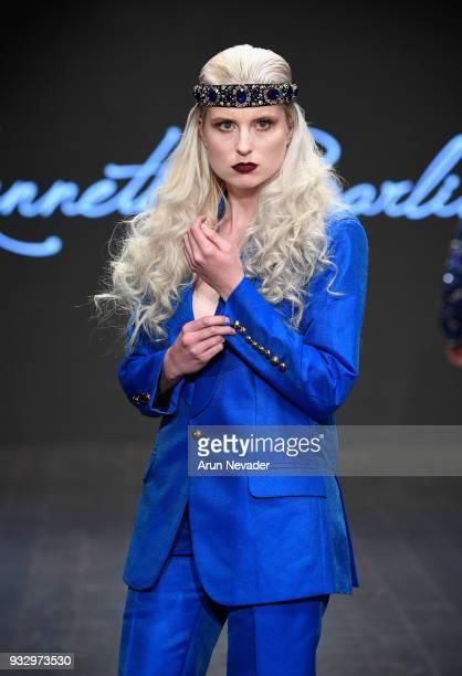 A model walks the runway wearing Kenneth Barlis at Los Angeles Fashion Week Powered by Art Hearts Fashion LAFW FW/18 10th Season Anniversary at The...