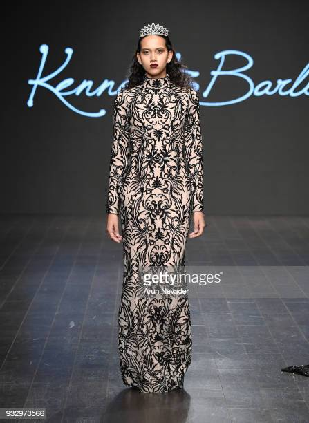 A model walks the runway wearing Kenneth Barlis at Los Angeles Fashion Week Powered by Art Hearts Fashion LAFW FW/18 10th Season Anniversary at The...