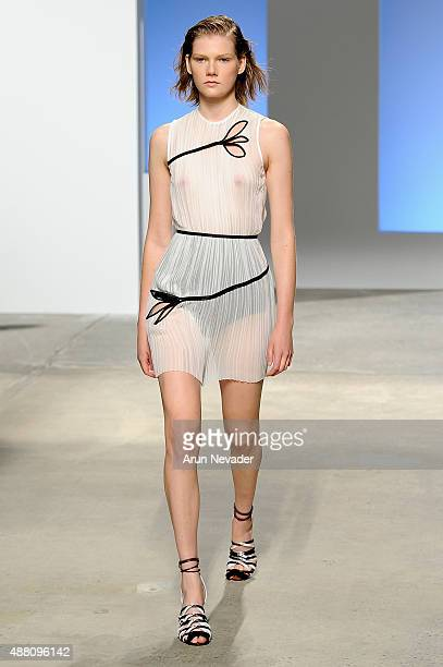 A model walks the runway wearing Kerastase Paris at Thakoon Spring 2016 during New York Fashion Week The Shows at SIR Stage 37 on September 13 2015...