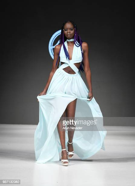 A model walks the runway wearing King Reign at 2018 Vancouver Fashion Week Day 3 on March 21 2018 in Vancouver Canada