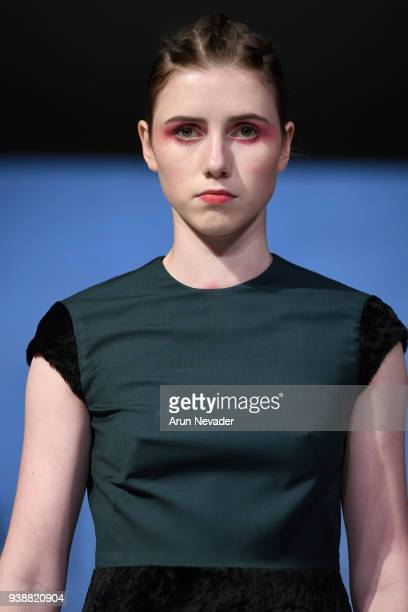 A model walks the runway wearing Kirsten Ley at 2018 Vancouver Fashion Week Day 6 on March 24 2018 in Vancouver Canada