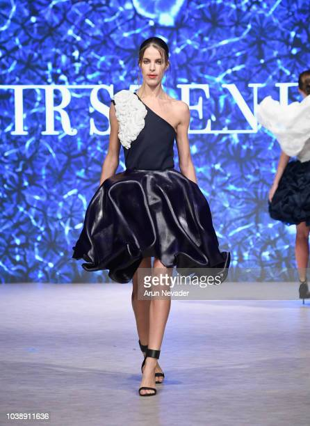 A model walks the runway wearing Kirsten Ley at Vancouver Fashion Week Spring/Summer 19 Day 6on September 22 2018 in Vancouver Canada