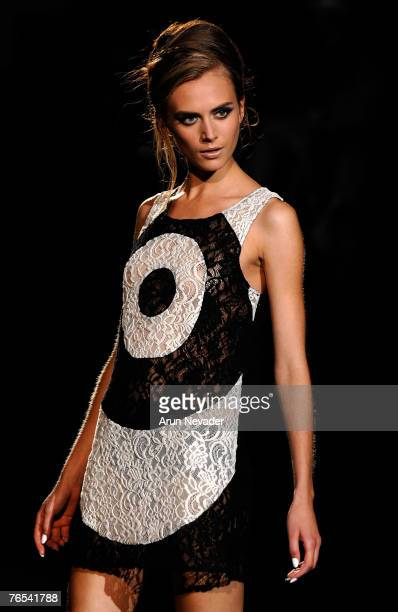 A model walks the runway wearing LAMB Spring 2008 during MercedesBenz Fashion Week at the Tent Bryant Park on September 5 2007 in New York City