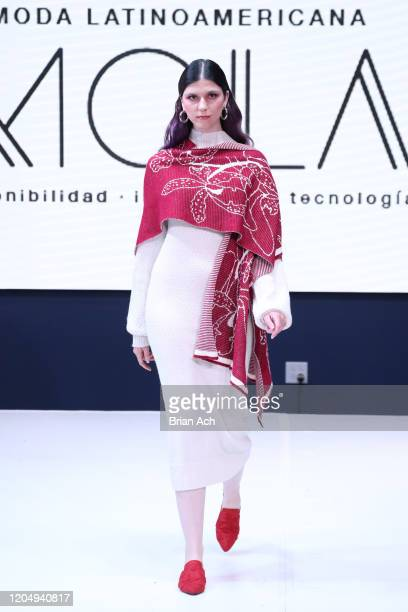 Model walks the runway wearing Laura Anez Textiles during NYFW Powered By hiTechMODA on February 08, 2020 in New York City.
