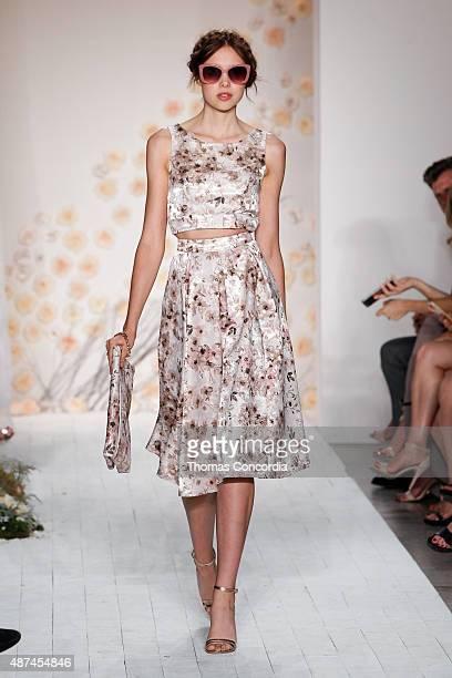 Model walks the runway wearing LC Lauren Conrad Spring 2016 during New York Fashion Week at Skylight Modern on September 9, 2015 in New York City.