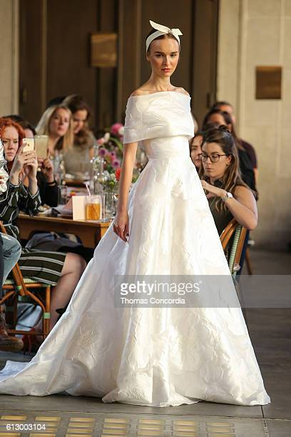 A model walks the runway wearing Lela Rose Bridal at The Pavillion on October 6 2016 in New York City