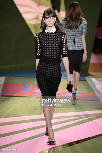 Model walks the runway wearing Lela Rose Fall 2016 during New York Fashion Week: The Shows at The Gallery, Skylight at Clarkson Sq on February 15,...