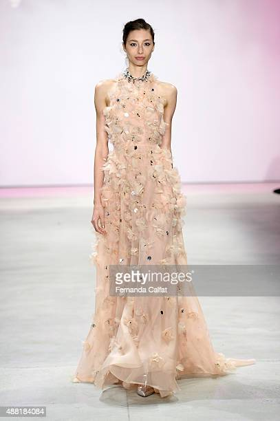 A model walks the runway wearing Lela Rose Spring 2016 during New York Fashion Week The Shows at The Gallery Skylight at Clarkson Sq on September 14...