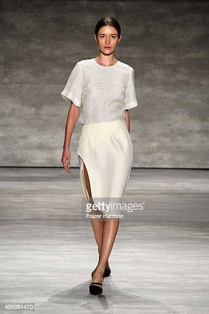 A model walks the runway wearing LEYII at the Concept Korea fashion show during MercedesBenz Fashion Week Spring 2015 at The Pavilion at Lincoln...